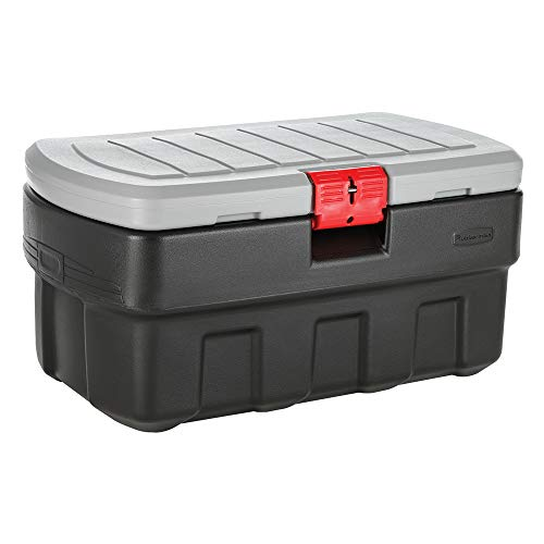 (Rubbermaid ActionPacker Lockable Storage Box, 35 Gal, Grey and Black, Outdoor, Industrial, Rugged)