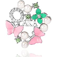 KINGSIN AKA Sorority Gifts Alpha Kappa Alpha Paraphernalia Pearl Crystal Flower Leaf Brooch for Women