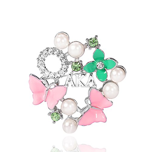KINGSIN Pearl Crystal Flower Leaf Brooch for Women AKA Sorority Gifts Alpha Kappa Alpha Paraphernalia