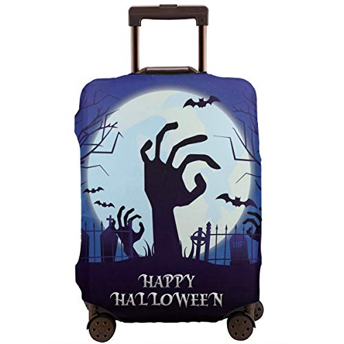 XINGxiangtao Happy Halloween Horror Night Bat Zombie Hand Moon Travel Suitcase Protector Zipper Suit Case Cover Washable 3D Printing Luggage Cover 18-32 Inch with Free Luggage Tag -