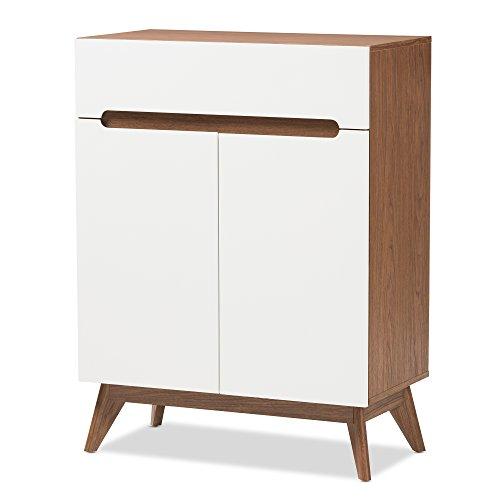 Baxton Studio Wood Storage Shoe Cabinet, White/Walnut Brown For Sale