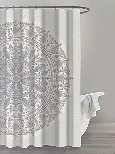 Artisan Studio Fabric Shower Curtain Large Round Intricate Boho Style Tapestry Medallion with Paisely Botehs in Shades of Gray and Pink on a White Background