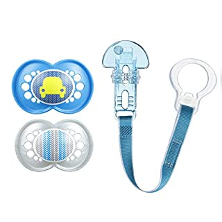MAM Pacifier and MAM Pacifier Clip Value Pack (2 Pacifiers & 1 Clip), Pacifiers 6 Plus Months for Baby Boy, Baby Pacifiers, Baby Pacifier Clips