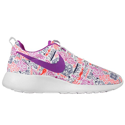 Nike Womens Wmns Roshe One Print Prem, Wit / Hyper Vlt-total Crimson-dk Purple, 11 Us