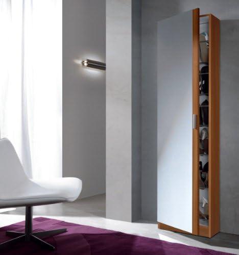 Habitdesign 007866C - Armario zapatero con espejo, color Castaño, medidas: 180 x 50 x 20 cm de fondo: Amazon.es: Hogar