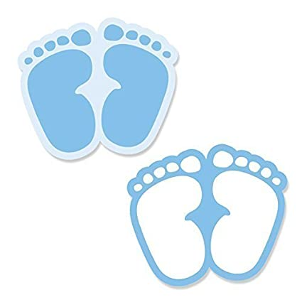 Baby Feet Blue   DIY Shaped Baby Shower Cut Outs   24 Count