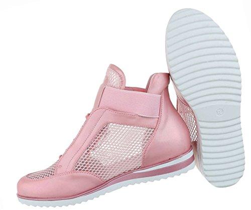 Damen Schuhe Freizeitschuhe Perforierte High Top Sneakers Turnschuhe Schwarz Rosa