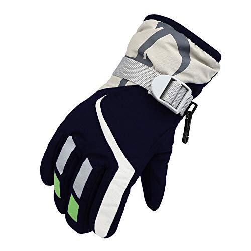 (Children's (Boys and Girls) Ski Gloves, Water-Resistant & Windproof, Breathable Ripstop Fabric (5-8years) (Navy))