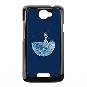 Astronaut Mowing the Moon HTC One X Cell Phone Case Black phone component AU_520047