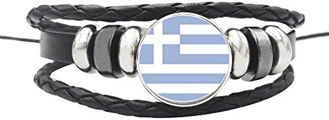 España Grecia España España España España Uk Estonia Irlanda Pulseras De Cuerda De Cuero Vidrio Botón Nación Bandera Ajustable Brazalete Hombres Mujeres: Amazon.es: Joyería