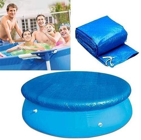 Shinyzone 183cm Cubierta de Piscina Hinchable Easy Set Redonda con Amarres de Cuerda,Lona Inflable De PVC Duradera a Prueba de Polvo de Lluvia de Viento para Piscina Redonda Inflable,Azul,BLU