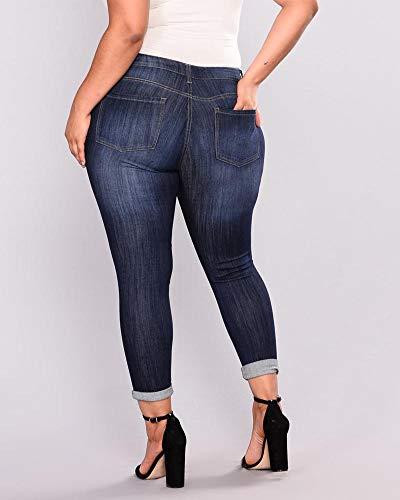 Dchir Fonc Haute Pantalon Taille Taille Femmes Bleu Quge Jean Grande Slim HwUqaxXv