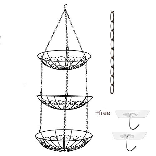 3-Tier Wire Hanging Fruit Basket with Black Chain Extender and Two Ceiling Hook - Perfect for Fruit, Vegetables, Snacks, Household Items, Ect (Hanging Baskets Copper)