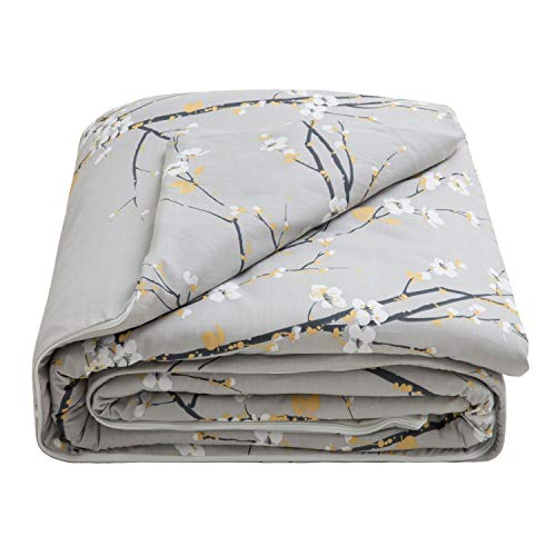 Cheap Bedsure Weighted Blanket Cover 60x80-100% Cotton - Queen Duvet Cover for Weighted Blanket - Plum Blossom Pattern - - 3-Sided Zipper for Removal & Washing - Grey (Duvet Cover Only) Black Friday & Cyber Monday 2019