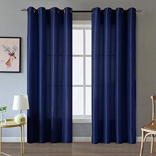 Valea Home Faux Silk Satin Window Curtains for Living Room 84 inch Long Light Reducing Curtain Panels Bedroom Grommet Top Drapes Window Treatment Set, 2 Panels, Navy Blue (Blue Faux Silk Drapes)