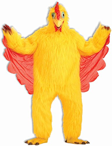 Dog Halloween Costumes Bird (Forum Men's Plush Chicken Costume, Yellow, One Size)