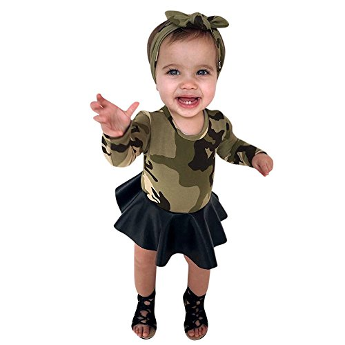 Girl Dress Long Sleeve Baby Kids Child Camouflage Tutu Skirt Princess Headbands Outfits Clothes (Size:3T, Green)