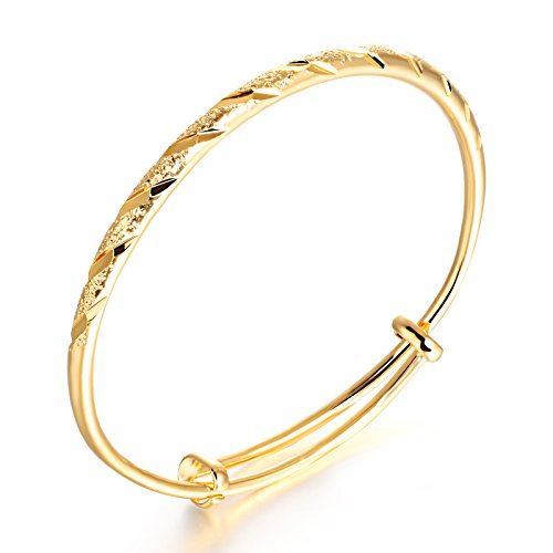 Stainless Steel 18K Gold Tone Classic Frosted Bride bracelet Bangle Cuff for Women Adjustable 7.48