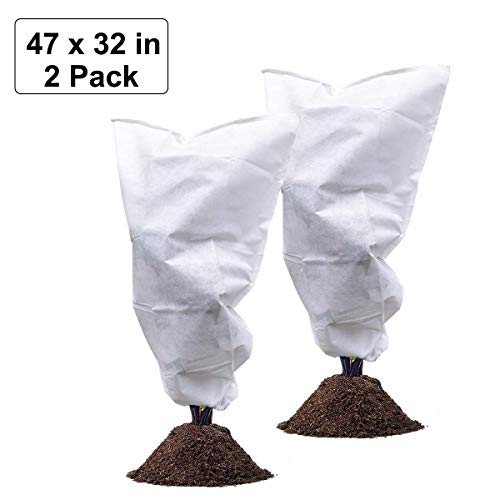 Maycoo 2 Pack Plant Covers- Large Size 47 by 32 Inches Drawstring Frost Bag for Outdoor Tree Rain Freeze Snow Protection, Bad Weather Pests