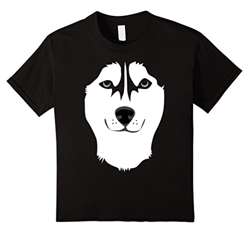 Siberian Husky Costume Ideas (Kids Siberian Husky Face Shirt, Funny Cute Dog Halloween Costume 6 Black)