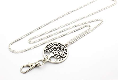 Women's Fashion Lanyard Necklace for ID Badge Holders 32 Inch w/Tree of Life and No Rear Clasp ()