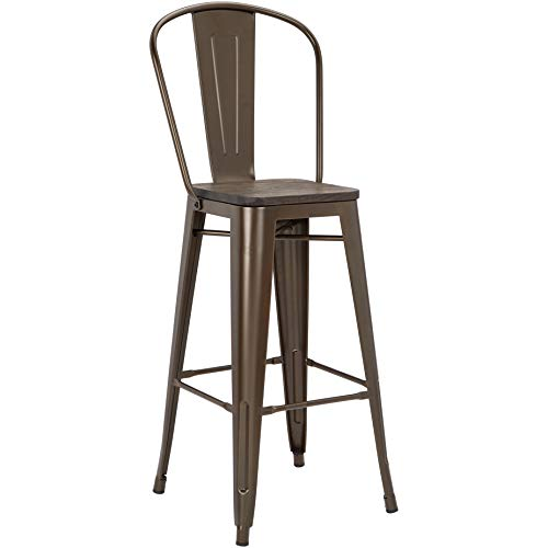 Pioneer Square Midvale 30-Inch Bar-Height Metal Stool with Back Rest, Set of 2, Bygone Bronze
