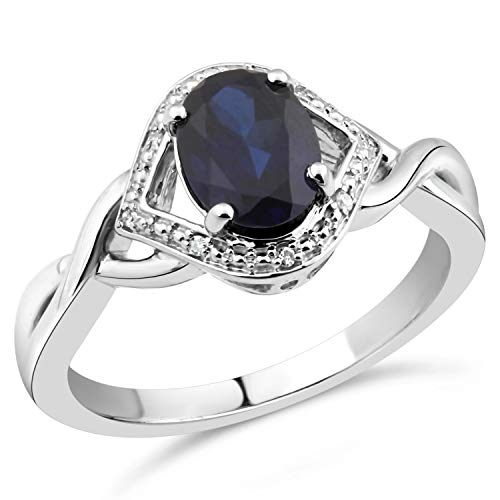 (Lab Created Blue Sapphire Ring in Sterling Silver with Diamond Accents-Size)