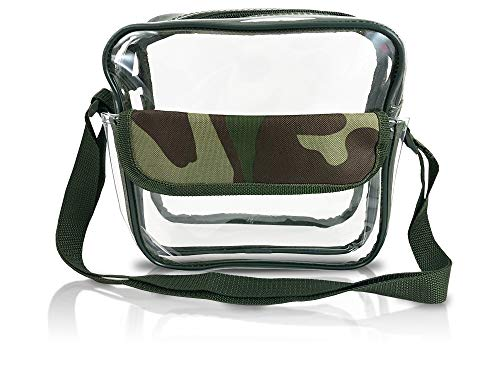 Event Stadium Approved Clear Messenger Bag Clear Shoulder Bag Transparent Purse with Adjustable Strap (Camouflage)