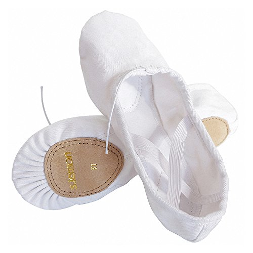 s.lemon Warm Double Layer Canvas White Ballet Shoes Dance Shoes Ballet Slippers for Girls Kids Toddlers Women Men in Different Size (white, Little Kid 11M/28 EU/Foot Length (How To Wear Ballet Slippers)