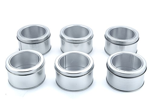 Bekith clear top spice tins round set of 6 home garden for Retro kitchen set of 6 spice tins