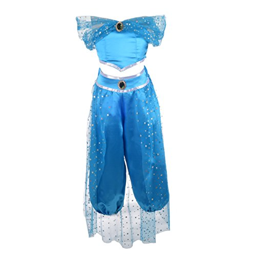 Dressy Daisy Girls Princess Jasmine Dress Up Costumes Arabian Princess Dress Halloween Party Size 8/10