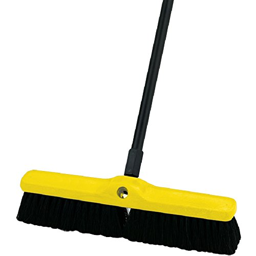 Rubbermaid Commercial Tampico Fiber Plastic Foam Block Medium Floor Sweep, 18-Inch Head Width, Black (FG9B0700BRN)