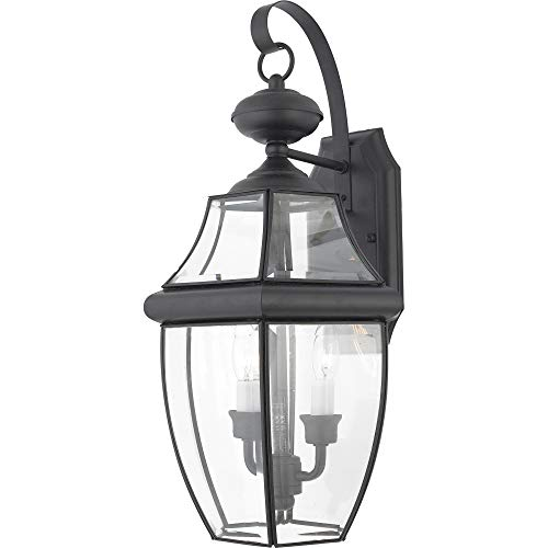 Quoizel NY8317K Newbury Outdoor Wall Lantern Wall Mount Lighting, 2-Light, 120 Watts, Mystic Black (20
