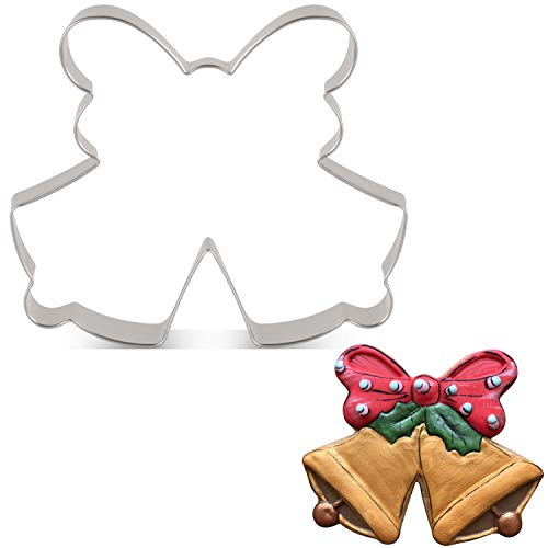 LILIAO Christmas Double Bell with Bow/Ribbon Cookie Cutter - 4.3 x 3.5 inches - Stainless Steel