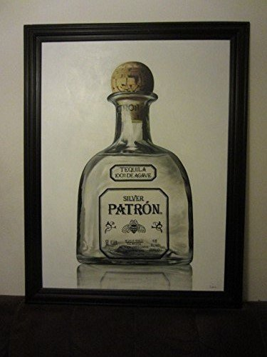Patron Silver Ultra Premium Tequila Bottle 55 1/2 X 43 1/2 Framed Canvas Painting (Premium Ultra Tequila)