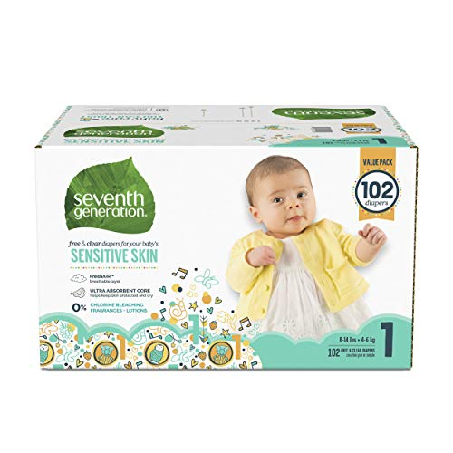 Seventh Generation Baby Diapers for Sensitive Skin Animal Prints, Size 1: 102 Count (7th Generation Size 1)