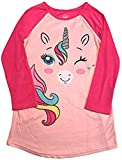 Long Sleeved Fleece Girls Nightgown Pajamas with Panda, Unicorn, and More Styles (Small (6/6X), Pink Unicorn)