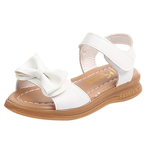 RAINED-Girl's Open Toe Ankle Strap Dress Sandals Bowknot Flat Cute Summer Water Sandals(Toddler/Little Kid/Big Kid) White