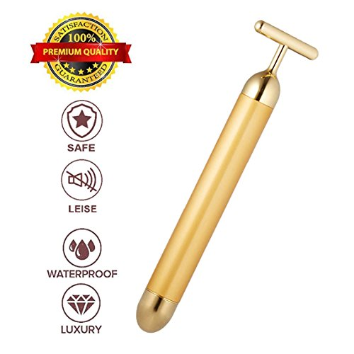 24k Golden Pulse Facial Massager, T-Shape Face Massage Tools for Sensitive Skin Face Pull Tight Firming Lift for Women (Gold) by AirPromise