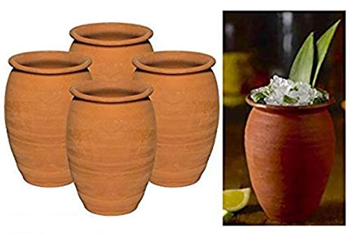 Made in Mexico Authentic Mexican Cantaritos Jarritos de Barro for Hot or Cold Beverages Drinks Natural Clay Mugs Cups, Set of - Terra Mexican Cotta