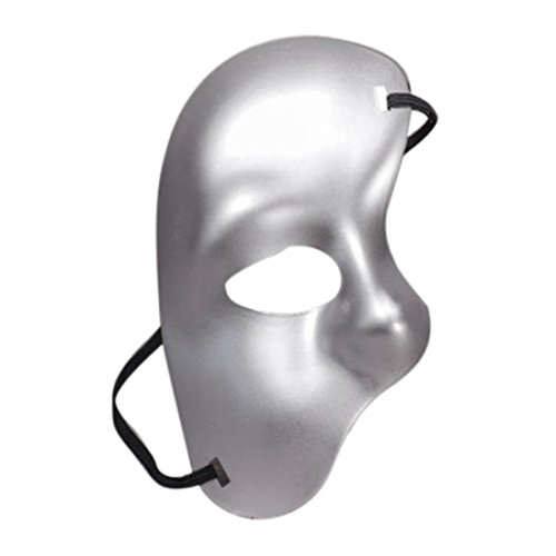 YJYdada Masquerade Mask Halloween Cutout Prom Party Mask Accessories (Silver)]()