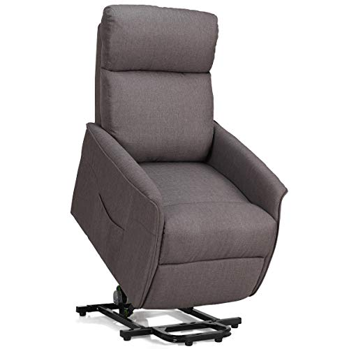 Giantex Recliner Sofa Chair Power Lift Recliner Fabric Padded Seat,Stable Steel Frame W/Remote Adjustable Degree Chair Back for Living Room, Bedroom Reclining Electric Chair