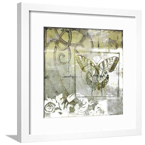 ArtEdge Non-Embld. Butterfly & Ironwork III by Jennifer Goldberger, Wall Art Framed Print, 16x16, Soft White Mat