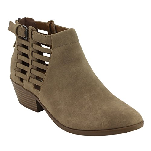 Side Buckle Detail Zip Back Block Heel Ankle Bootie (6 B(M) US, Light Taupe Distressed) (Buckle Detail Ankle Boots)