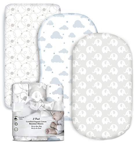 Cambria Baby 3 Pack Organic Cotton Fitted Bassinet Sheets for Boy or Girl, Elephant, Cloud and Bubble