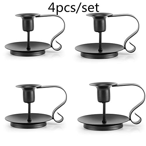 4pcs Candle Holder Candle Base Holder Pillar Candlestick Stand for Electronic Candles Tapers Christmas Party Home Decor Table Decor (Black, 4pcs) (Gourd Candle Holders)