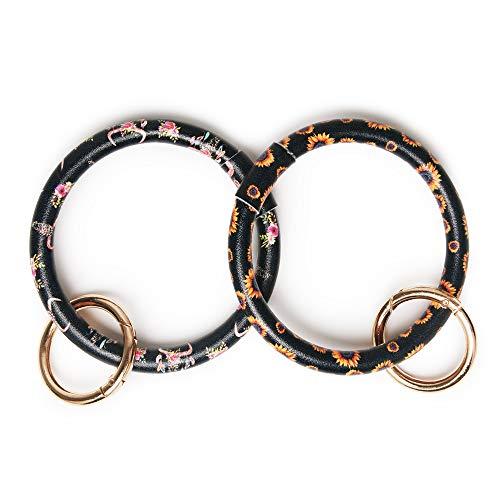 (Key chain Bracelet bangle Men Women Lanyard Vegan Leather Key Ring Loop Key Fob Saver (Bullskull/Sunflower))