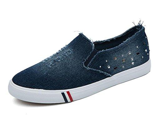 XIE Señora Zapatos Denim Rhinestones Permeabilidad Simple Ocio Lienzo Estudiantes Escuela Diaria, Shallow Orchids, 35 DEEPBLUE-37