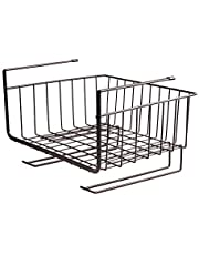 HOUZE OKN-U0554 Overhead Shelf Hanging Basket - Matt Black (Dim: 27x25.5x19.5cm)