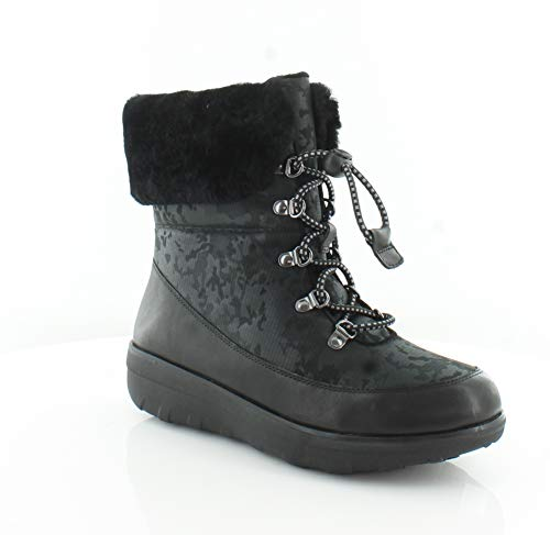 FITFLOP Womens Holly Shearling Lace Up Winter Boot Shoes, Black, US 9 (Womens Black Boots Holly)